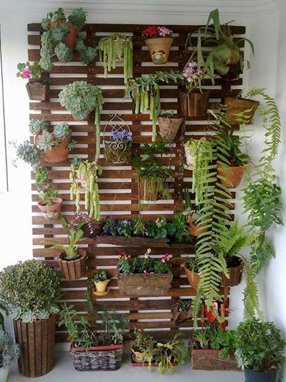 jardín en palet