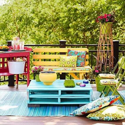 reciclaje palets madera de colores