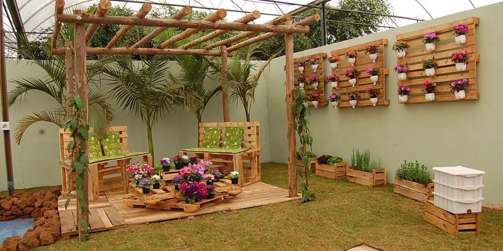 palets de madera jardin exterior